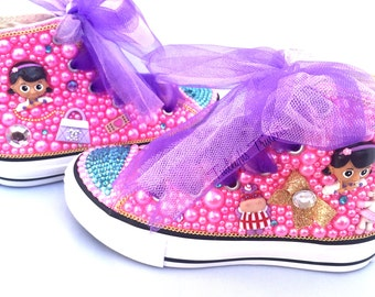 Doc McStuffins Toddler Converse Bling Shoes, Pink Pearl Rhinestone Converse, Disney Inspired Crystal Converse, Personalized Converse