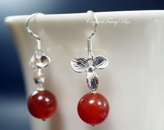 Red Carnelian Earrings, Silver 3 Petal Orchid Flower Earrings , Red Stone Earrings,  925 Sterling Silver Earrings