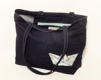Papership denim shopper bag/beach bag - FREE SHIPPING