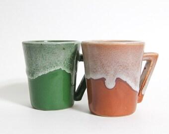 Vintage Mid Century Drip Glaze Mugs Red Orange and Green Geometric