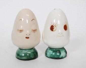 Vintage Anthropomorphic Egg Salt and Pepper Shakers