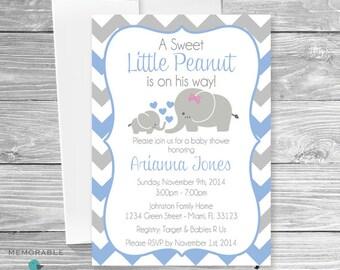 Baby Elephant Themed Baby Shower Invitation - Baby Shower Invitations - Boy Baby Shower - Cute Elephant Baby Shower - Printable Invitations