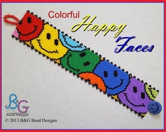 COLORFUL HAPPY FACES Peyote Cuff Bracelet Pattern