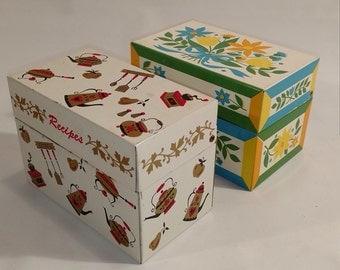 Vintage 2 Tin Index Card /Recipe Boxes