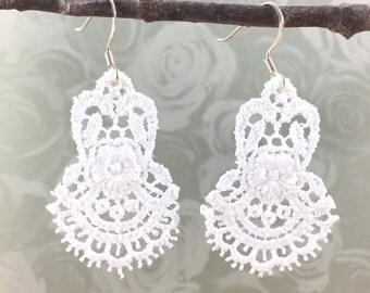 Handmade White Lace Dangle Earrings