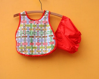 Red Diaper Shirt and Bloomers CLEARANCE [Retro Cute Kids Infant Top 6 months 9 months]