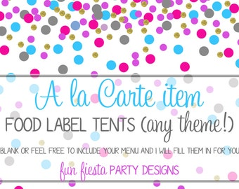 A la carte FOOD LABEL TENTS
