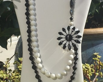 Black and white upcycled statement necklace