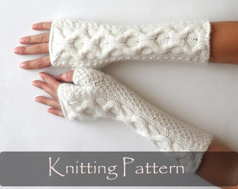 KNITTING PATTERN - Knit Fingerless Mittens Cable Fingerless Gloves Pattern Knit Pattern Knit Gloves Pattern Cable Arm Warmers - P0008
