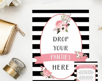 Pink Floral Panty Game, Naughty Bridal Shower Game, Bachelorette Party, Lingerie Shower, Spring Bridal Shower, Sign, Hang Drop your Panties