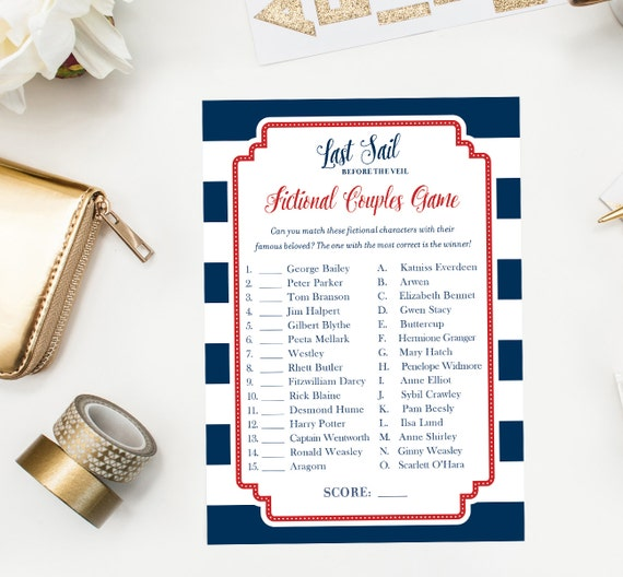 Celebrity match bridal shower game