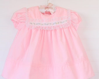 Vintage baby dress. Baby Pink with bib collar, no name for 6-9 mo