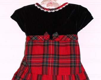 Vintage Christmas baby dress. Red plaid skirt with black velvet on top. Youngland dress sized for 3-6 mo