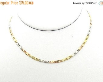 Mariner Chain Three Color Gold Plated Necklace Chain Everyday Jewelry