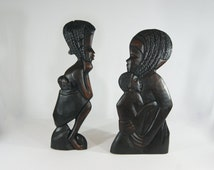 s/2 Ebony Wood AFRICAN/GHANA Wall Art/Mother & Child Hand Carved Wall Hangings from Africa/GHANA/Flat Wood Panels, Set of Two.