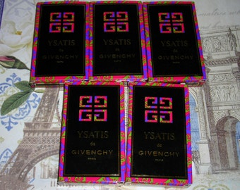 Lot of 5 Givenchy Ysatis eau de toilette sample vials, 2 ml each.