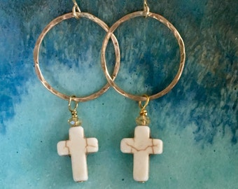 Gold Filled Hammered Circles with Cross