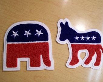 Democrat or Republican chenille patch