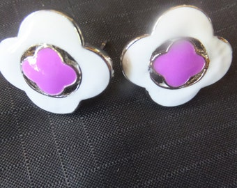 Pink and White Enamel Silver Earrings True Vintage 70's at its finest!