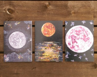 Set of 3 Moon Notebooks, Recycled Paper A6 Blank Notebooks, Blank Inside, A6 Notebooks, Moon Notebook Set, Moon Art, Moon Gifts