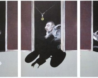 FRANCIS BACON - 'Triptych' - rare vintage offset lithograph - c1970 - large (Gagosian Gallery, New York)