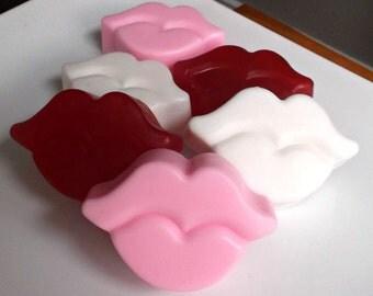 10 Bridal Shower Favors - Wedding Favors, Bachelorette Party Favors, Bridal Shower Soap, Lip Soap, Kiss, Kisses, Valentines Day