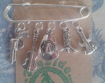 HAND MADE Country & Western Cowboy Line DancIng Silver link Brooch by Teaside