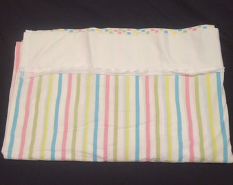 Vintage stripe Sheet,pink, Green , yellow and blue Queen flat, Cotton Poly Blend