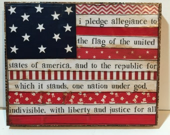 American Flag Wall Art, Patriotic Flag, Pledge Alligiance, Mixed Media Flag,  Patriotic Part 81