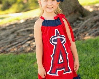 Angels Tshirt ruffle tshirt dress, Angels Baseball pillowcase tshirt dress, perfect for birthday, ball games fits girls size 5-8
