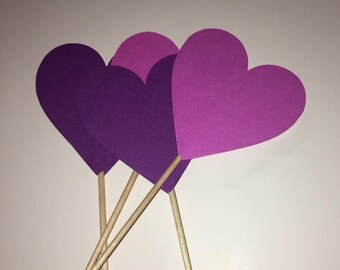 Heart Cupcake Topper- Purple Heart Cupcake Topper - Handmade