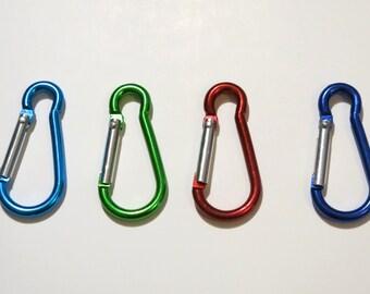 """BULK 30pc """"carabiner"""" clip-ons in 4 colors (BC755B)"""