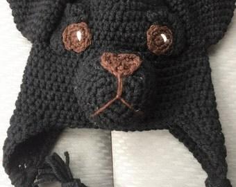 Black Lab Ear-Flap Beanie
