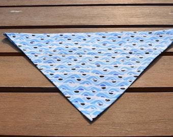 Handmade Blue Wave Stripy Slip-on-Dog Bandana, Dog Bandana, Blue Dog Bandana, Slip on Bandana, Dog Fashion, Dog Accessories, Dog Neckwear