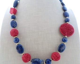 Blue lapis lazuli necklace, red cinnabar necklace, chunky necklace, big bold necklace, beaded necklace, gemstone choker, stone jewelry