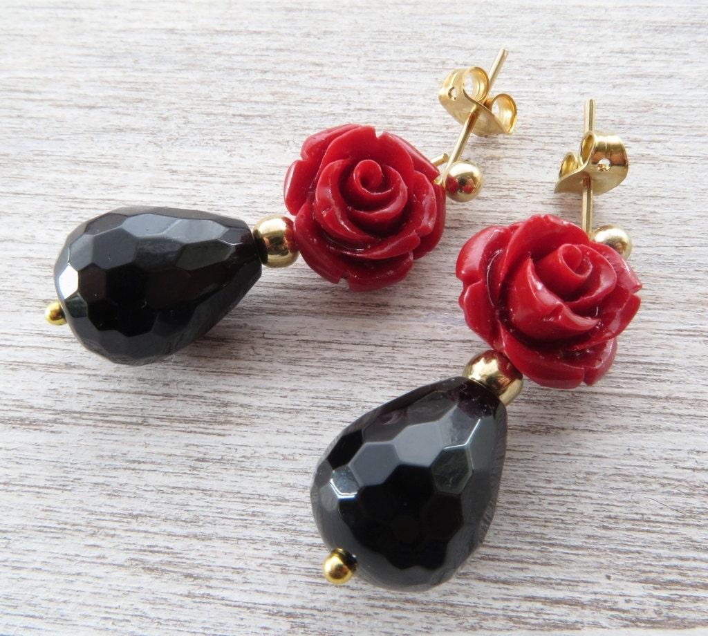 Red Rose Earrings Black Agate Earrings Small Dangle