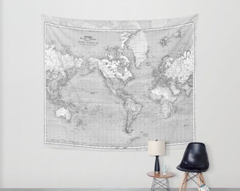 World Map Tapestry Wall Hanging   Vintage Map, Grey And White, Beautiful Map ,
