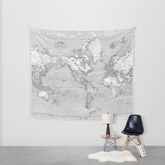 World map tapestry wall hanging vintage map grey and white like this item gumiabroncs Gallery
