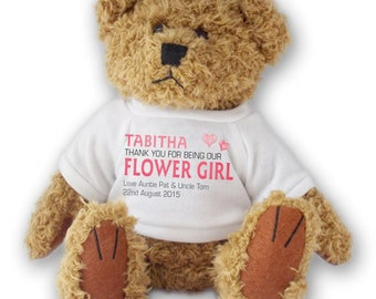 PERSONALISED flower girl, bridesmaid, page boy TEDDY BEAR wedding favour gift idea - twin hearts