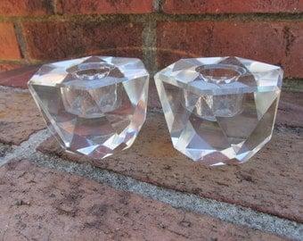 Candle Holders - Pair - Crystal - Vintage