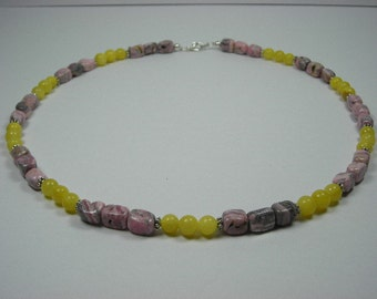 Rhodonite and Lemon Jade Necklace