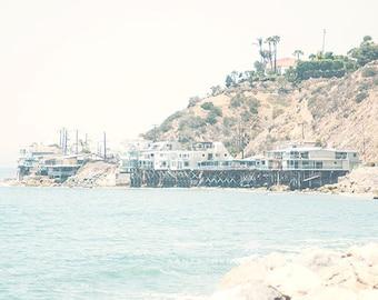 Malibu, beach houses, California, beach print, summer, ocean, seaside, travel, Los Angeles, wall print, California Art, mint