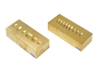 Ring Stamping / Marking Brass Anvil Two Sided, Grooved Block, Jewelry Metal Tool WA 410-029