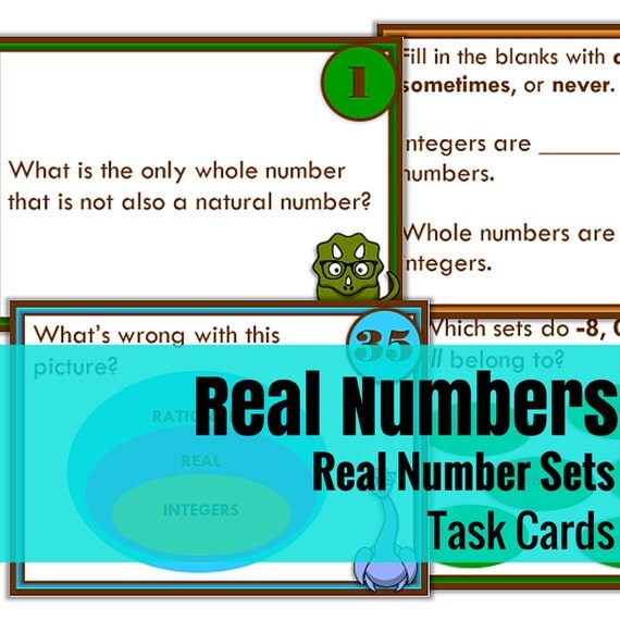 Real Number System Task Cards: Set of 40 Nerdy Dino-Themed Task Cards