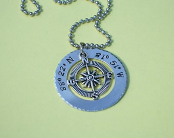 GPS Compass Charm Necklace, Nautical Jewelry, Personalized GPS Coordinates Metal Necklace, Hand Stamped & Hammered Edges