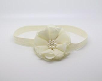 Ivory Headband, Ivory Baptism Headband, Ivory Flower Girl Headband, Ivory Flower Headband, Cream Baptism Headband, ivory birthday headband