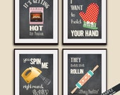 Hot in Here, Your Hand, Spin Me, Rollin (Funny Kitchen Song Series) Set of 4 Art Prints (Featured in Vintage Chalkboard) Kitchen Art
