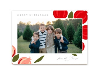 Floral Christmas Card // Modern Holiday Cards // Unique Christmas Cards // Modern Floral // 5x7 Printable Photo Christmas Card // The Berrys
