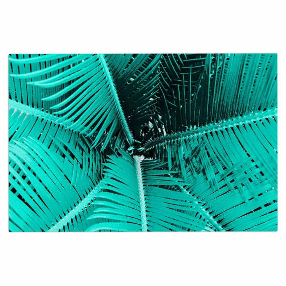 Outdoor Door Mat Teal Black Palm Leaves Suzanne By KessInHouse