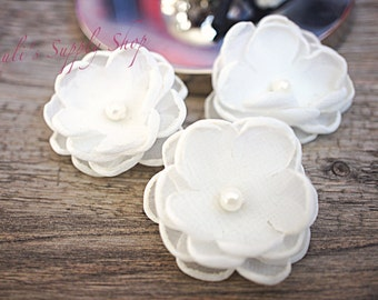 "Set of 3 Ivory - 1.5"" Chiffon Flowers w/ Pearl Center - Petite flower - Chiffon Flower - Fabric Flower - wholesale flowers Supply"